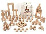 CreaBLOCKS Holzbausteine Ergänzungspaket Dicke Quader (87 unbehandelte Bauklötze) (im Baumwollbeutel) Made in Germany